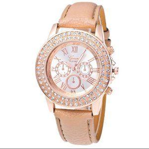 NEW Geneva Tan & Gold Rhinestone Quartz Watch